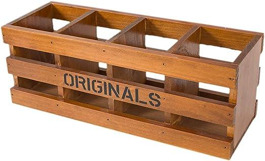 Soporte para bolígrafo retro, caja de almacenamiento de madera de ...