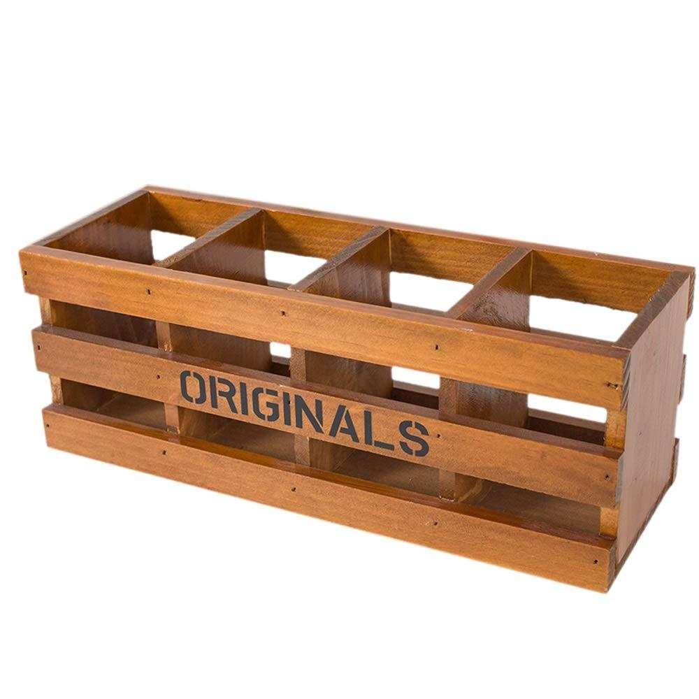 Amazon.com: Retro pen holder, large-capacity wooden storage ...