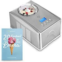Eismaschine Emma 1,5 L mit selbstkühlendem Kompressor 150 Watt, inkl. Rezeptheft, Ice-Cream-Maker aus Edelstahl mit Abschaltautomatik, entnehmbarem Eisbehälter & LCD Display