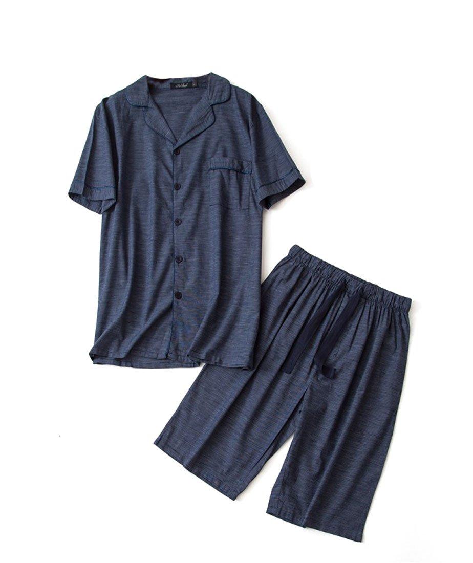 Men's Cotton Woven Short Pajama Set Sleepwear (Deep Blue Cube, X-Large)