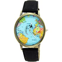 ... Women Men Denim Fabric World Map Watches Quartz Relojes Mujer Relogio Feminino Gift Black