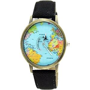 Women Men Denim Fabric World Map Watches Quartz Relojes Mujer Relogio Feminino Gift Black