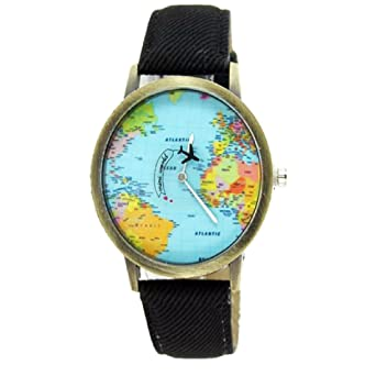 Fashion women men vintage earth world map watch denim fabric wrist fashion women men vintage earth world map watch denim fabric wrist watches black gumiabroncs Image collections