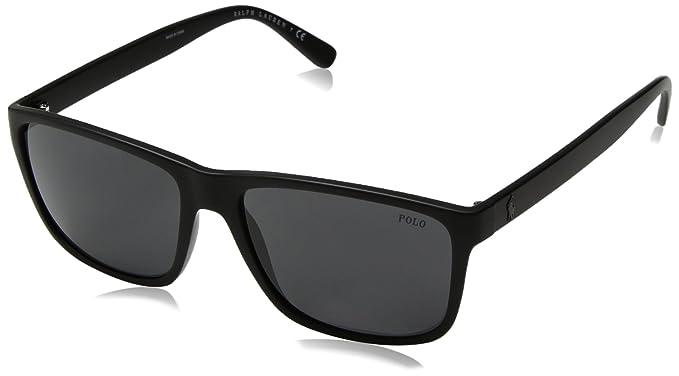 f69400e4db polo ralph lauren Men 's inyectado hombre rectangular anteojos de sol, Negro  Mate,