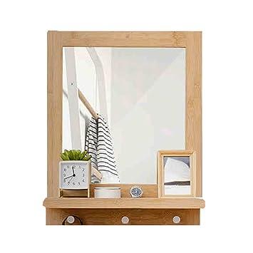 WENZHE Cube Regal Wandregal Schweberegale Storage Racks Bambus Badezimmer  Toilette Kosmetikspiegel Zuhause Multifunktion Lager, 47