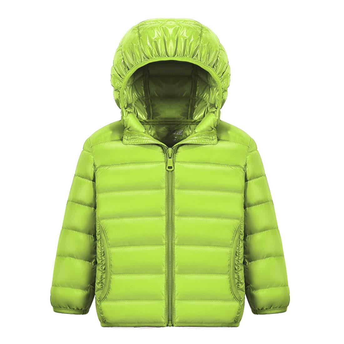 Happy Cherry Boys Quilted Packable Outwear Hoodie Lightweight Comfortable Puffer Jacket Windproof Outwear Children Warm Duck Down Coat Green