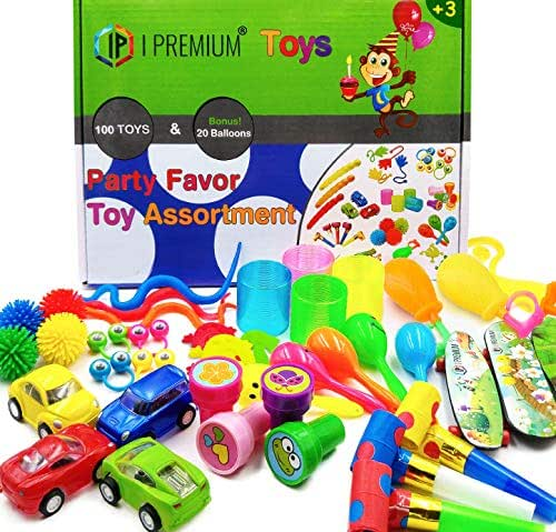 IP I Premium 120 Pcs Toy Assortment, Party Favors for Kids, Bulk Toys, Pinata Filler, Goodie Bag Fillers, Treasure Box, Prizes for Classroom, Carnival and Birthday. for Boys and Girls