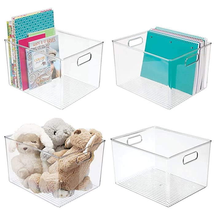 "mDesign Deep Plastic Home Storage Organizer Bin for Cube Furniture Shelving in Office, Entryway, Closet, Cabinet, Bedroom, Laundry Room, Nursery, Kids Toy Room - 12"" x 10"" x 8"" - 4 Pack - Clear"