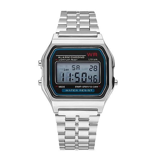 Moda Vintage LED Reloj Digital Correa de Acero Inoxidable Alarma Reloj de Pulsera Vestido de Negocios Reloj de Pulsera para Hombres Mujeres: Amazon.es: ...