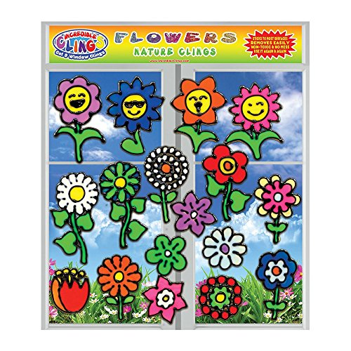 Flowers Gel Clings for Kids and Adults (17 Piece Set) - Sunflower, Rose, Tulip, Daisy and More 3D Vinyl Window Clings - Reusable on Glass Surfaces, Smooth Walls, Flower Vases, Pots, Classrooms and Mor