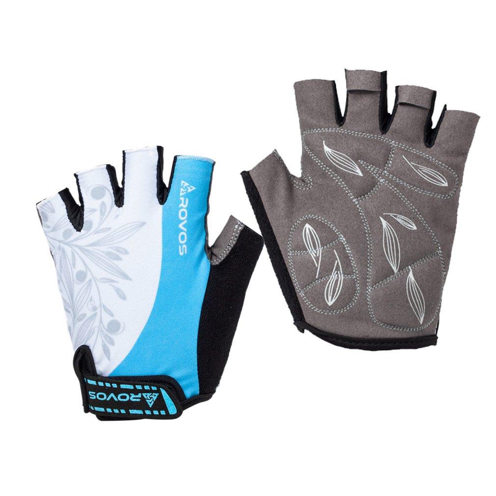 Biking Gloves Half Finger Padded Breathable Sports Biking Gloves for Women(Columbia Blue,Large)