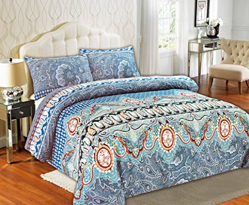 Tache Home Fashion 2814-Q 3 Piece Paisley Monarch Luxurious Floral Duvet Cover Set, Queen