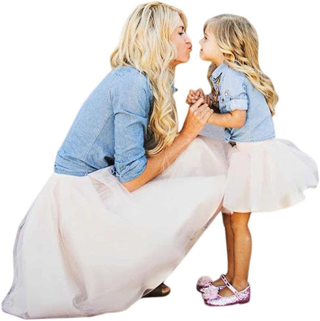 FORESTIME/_baby clothes girl FORESTIME Mommy and Girls Demin Top Shirt+Tutu philabeg Family Skirt Set Outfit
