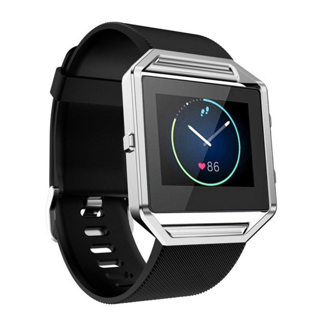 for Fitbit Blaze Soft Silicone Watch Band,Outsta Sport Smart Watch Replacement Accessories Wrist Strap Bracelet Women Men Multicolor 23MM (Black)