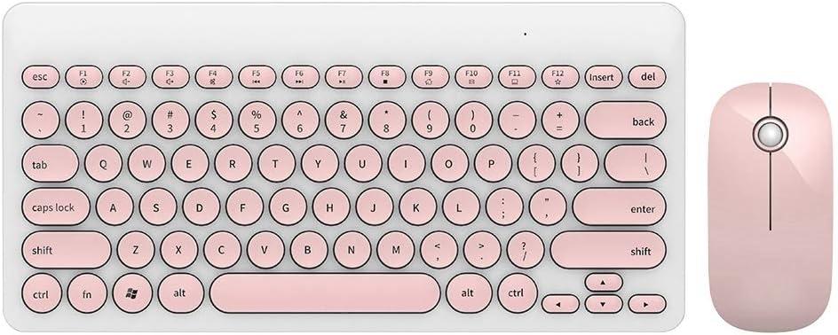 2.4ghz Wireless Round Cap Button 90 Keys Multimedia Keyboard and Mouse Set for Win2000 // WinNT4.0 // WinXP//Win.NET // Win7//8//10 // Mac OS X10.8 ASHATA Keyboard Mouse Combo Pink