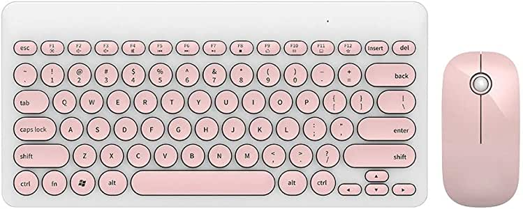 Bluetooth IK6620 2.4ghz / Multimedia Keyboard and Mouse Set Wireless Round Cap Button 90 Keys,20m Range/  Wireless Keyboard and Mouse White and Pink