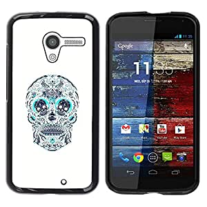 """For Motorola Moto X Motorola Moto X ( 1st Generation ) Case , Cráneo Teal blanco del estampado de flores de la Muerte"""" - Diseño Patrón Teléfono Caso Cubierta Case Bumper Duro Protección Case Cover Funda"""