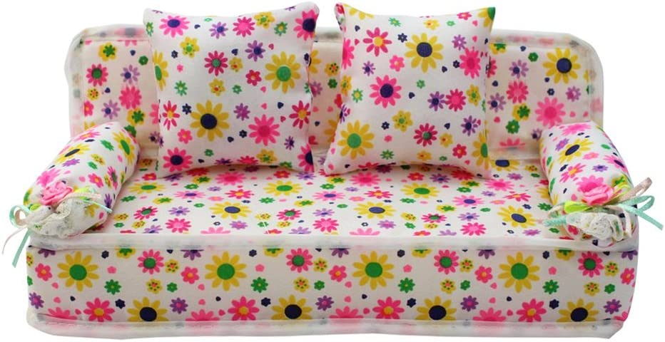 PIXNOR Lovely Miniature Furniture Flower Print Sofa Couch with 2 Flower Cushions 8.50cm