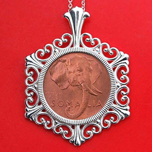 Beautiful 1950 Somalia 1 Centsimo Cent BU Uncirculated Rare Coin 925 Sterling Silver Necklace NEW - Elephant