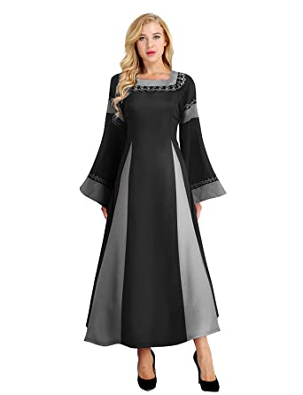 FEESHOW Women Medieval Dress Lace up Vintage Floor Length Cosplay Retro Long Dress Black Large
