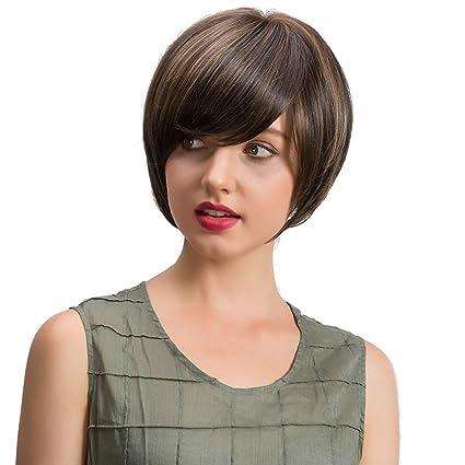feitong naturales peluca recto pelo corto Ropa de pelucas Mujeres Corto Mode peluca