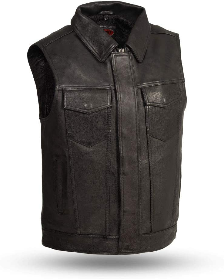 Black, X-Large First Mfg Co Kent Mens leather vest with a removable hooded sweatshirt