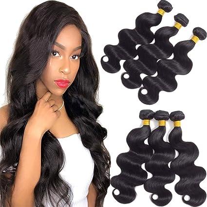 Elees Set da 3 ciocche di capelli autentici brasiliani con capelli umani  non trattati Remy 6252b74f634f