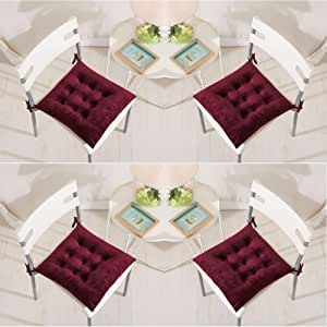 Set of 4 Chair Pads 40 x 40 cm Seat Cushions with Ties Soft Velvet Comfortable Square Cushions, for Dining Chairs Kitchen Living Room Patio Garden Indoor Outdoor,Burgundy