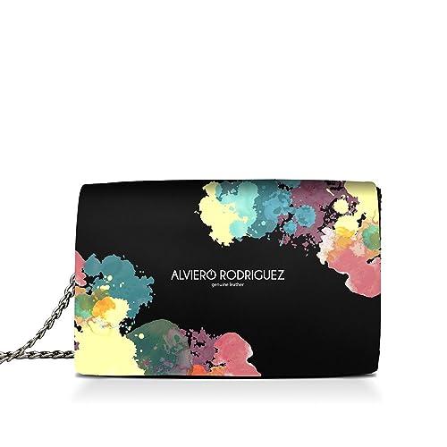 Alviero Rodriguez Borsa Donna Splash Pittura Colori Paint in Vera Pelle