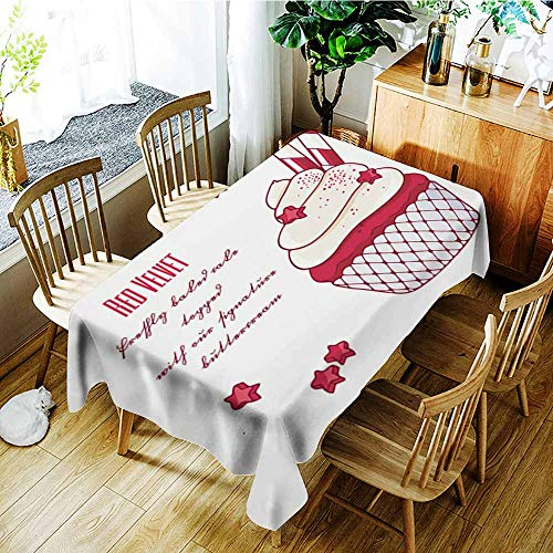 AGONIU Resistant Table Cover,Hand Drawn red Velvet Cupcake with Doodle Buttercream for Pastry Shop menu,Party Decorations Table Cover Cloth,W60X90L