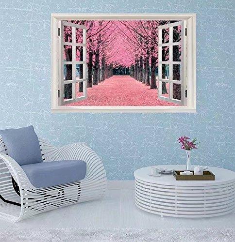 Sophiehome Wall Sticker  Pink Tree Nami Island In Korea Window Frame Style Wall Sticker Home Decor  35 X 22