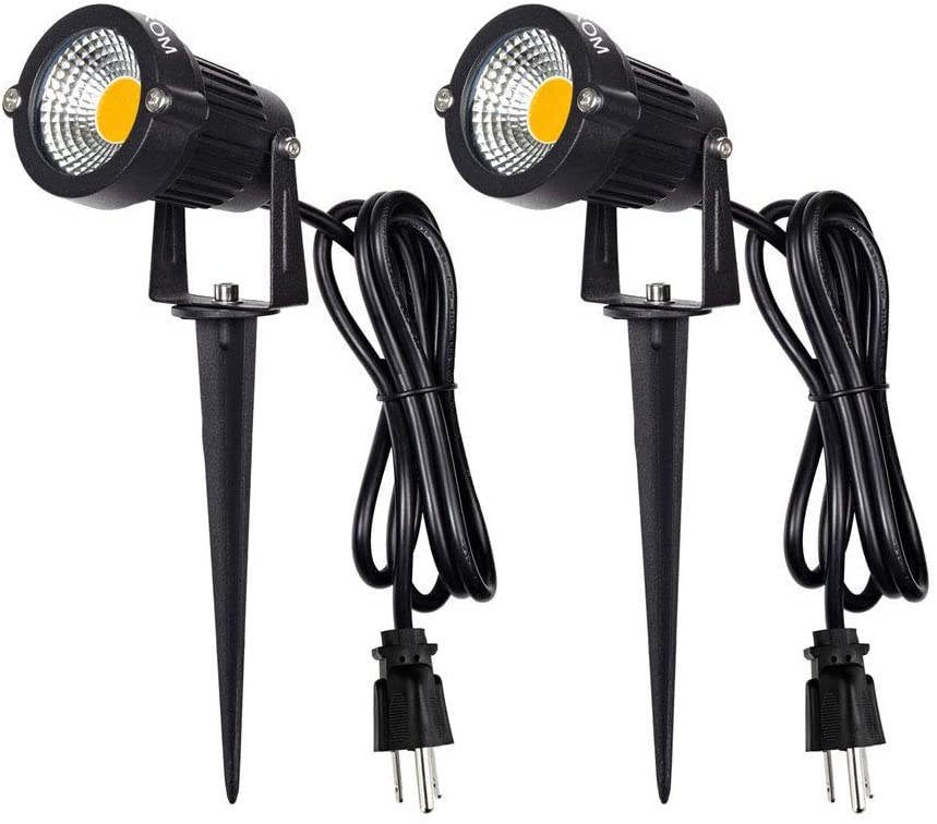 LED Landscape Spotlight Outdoor,IP65 Waterproof Garden Spotlights,5W AC 120V Yard Flood Light,Metal Ground Stake Lawn Lights,3200K LED Spotlight with 1.5M UL-Listed Cord and 3-Plug (2 Packs)