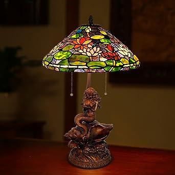 fdcce5f4501840 Tiffany-Stil Tischleuchte/Europäische Garten Schlafzimmer  Wohnzimmerlampe/Meerjungfrau Seerose Lampe-A: Amazon.de: Beleuchtung