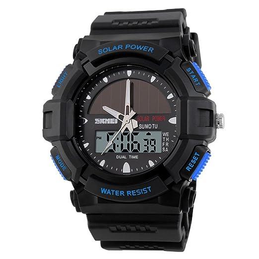 Relojes solares/Moda electrónica dual resistente al agua al aire libre deporte watch de men/Actual estudiante relojes-azul: Amazon.es: Relojes