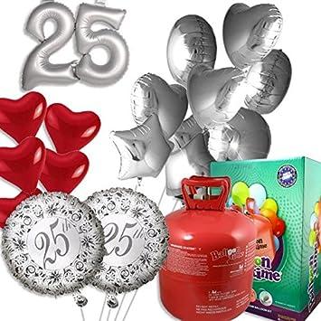 geburtstagsfee Juego 25º Aniversario, con Globo de Helio Globos, Globos y de Gas de