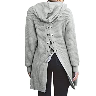 8134e1f695 BEEY Womens Long Sleeve Lace Up Back Hooded Cardigan Sweater Tops  (Grey)