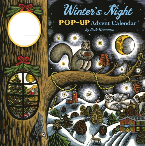 Winter's Night Pop-Up Advent Calendar stickers under windows