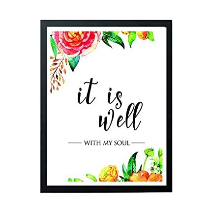 image about It is Well With My Soul Printable called signatives It is very well with my soul - Printable quotation, Christian Wall Print - wall artwork decor - marriage ceremony artwork - Scripture Print - floral estimates - Residence
