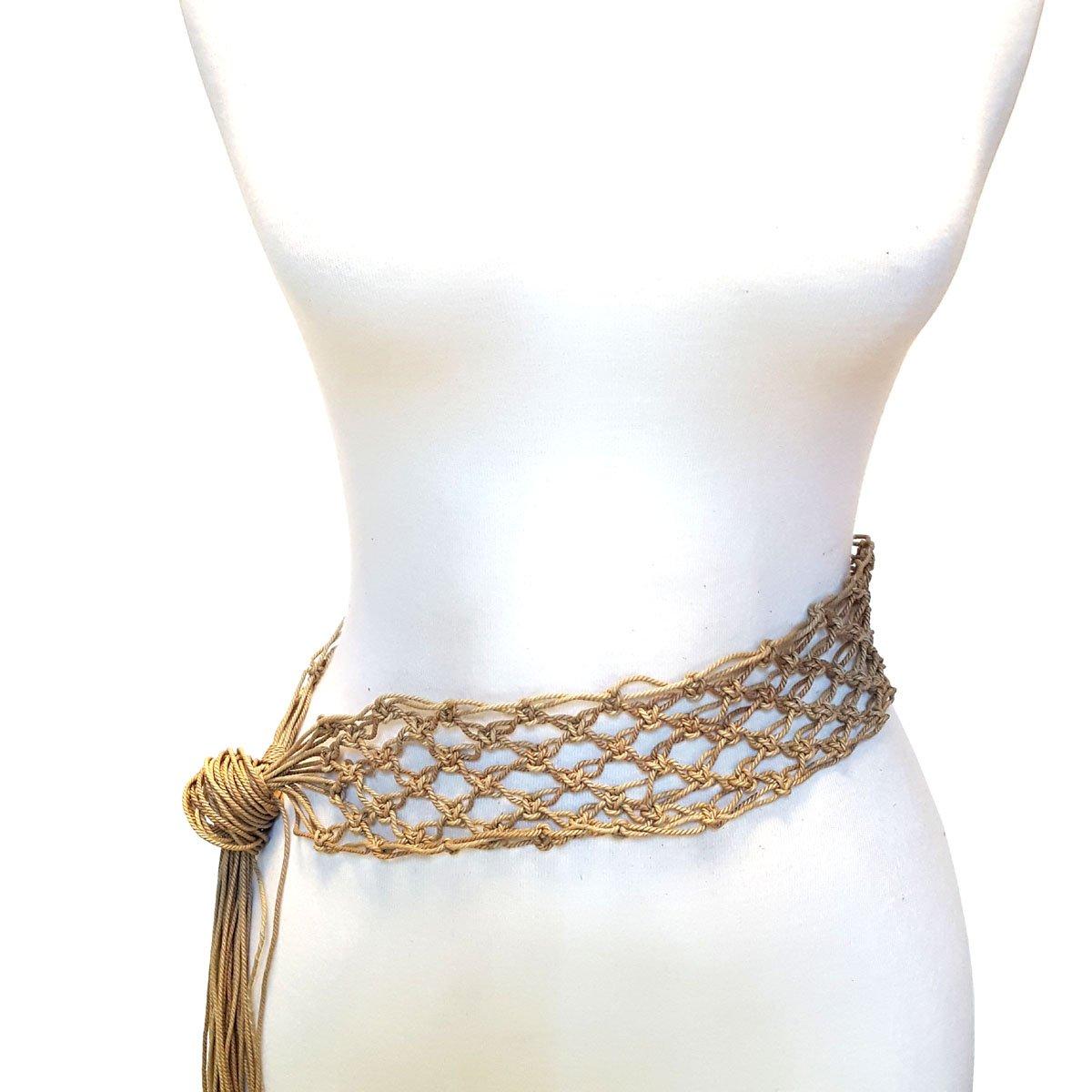 Hand Made Macreme Pattern Tie Belt in Tan S/M