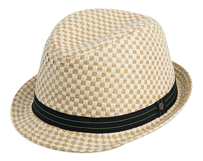 Men's Vintage Style Hats Natural Straw Stingy Brim Fedora Mod/Ska Block Black and Lime Band �16.00 AT vintagedancer.com