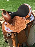 """15"""" 16"""" 17"""" Western Pleasure Trail Show 100% Leather Horse Saddle Handtool Loaded with Aztec Silver"""