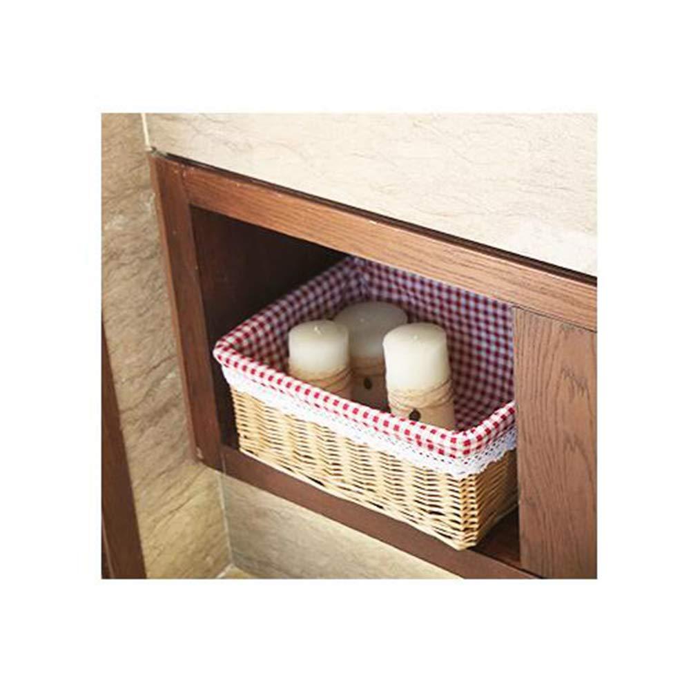 Y-Step Wicker Storage Basket Round Willow Rattan Storage Basket for Living Room Kitchen Bathroom Home Restaurant M(30x20x12cm), Pure Color Linen