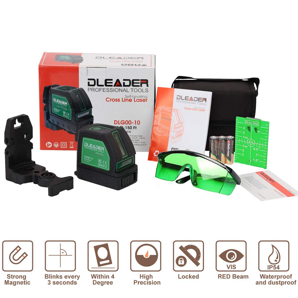 DLG00-10 DLEADER Laser Level Cross Line Laser Mute Levelsure Green Beam line laser level,150ft//45m Magnetic Mount Base Carrying Pouch and Eye Protection Safety Glasses Included