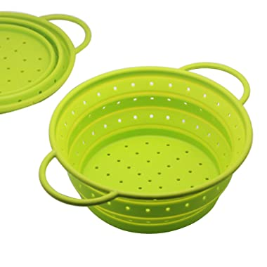 OILP Safe Silicone Collapsible Colander Strainer Fruit Basket Portable Storage for Outdoor Travel Camping Hiking,10.04 (7 Quart),Easy to Carry and Store (Large, Green)