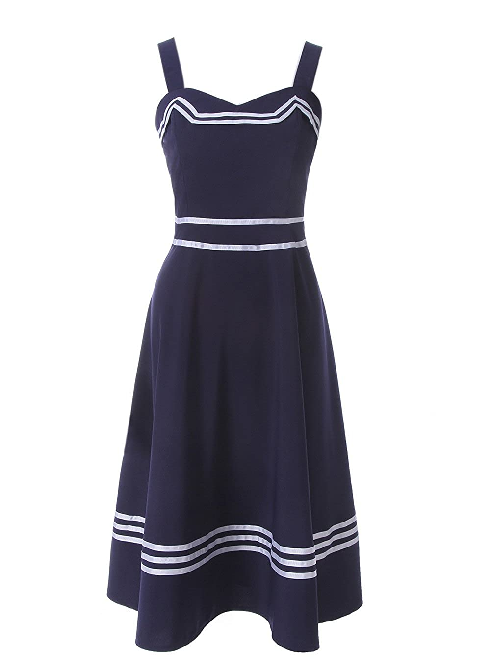 Sailor Dresses, Nautical Theme Dress, WW2 Dresses ROLECOS Womens Sailor Dress 1950s Rockabilly Vestido Cocktail Party Dresses Navy Blue $26.99 AT vintagedancer.com
