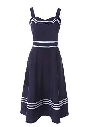 ROLECOS Womens Sailor Dress 1950s Rockabilly Vestido Cocktail Party Dresses Navy Blue M