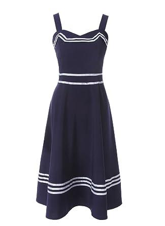 ROLECOS Womens Sailor Dress 1950s Rockabilly Vestido Cocktail Party Dresses Navy Blue M