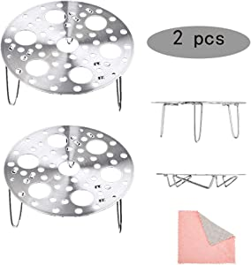 2 Pcs Steamer Rack 8/18 Stainless Steel 7 Inch Heavy Duty Pressure Cooker Steam Rack Egg Steamer Rack Adjustable Height Thickened Design Gift 1 Piece Of Cleaning Cloth