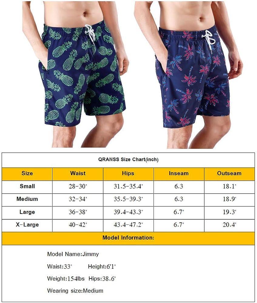 QRANSS Mens Printed Swim Trunks Beach Shorts with Drawstring