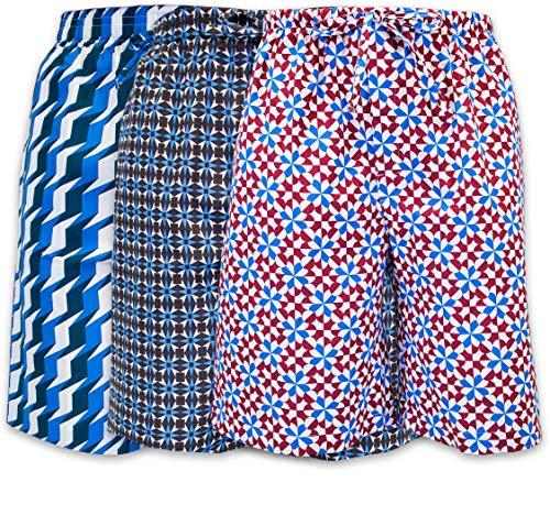 Jams Sleep Shorts - Men's Lounge Pajama Sleep Shorts/Woven Jam Dorm Shorts Drawstring & Pockets - 3 Pack (3 Pack- Geometrics 2, Large)